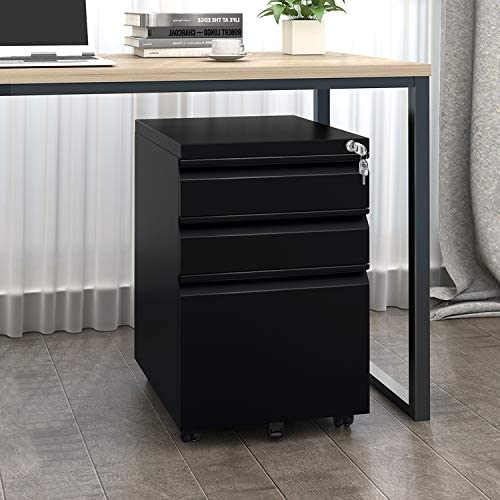 DEVAISE 3 Drawer Mobile File Cabinet with Lock, Metal Filing Cabinet for Legal Letter A4 Size, Fully Assembled Except Wheels, Black