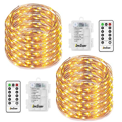 Remote Light Set - 2 Sets Fairy Lights, Battery Operated String Lights Waterproof 8 Modes With Remote, 50 Led 16.4 ft Indoor Lights Copper Wire Twinkle Lights for Bedroom Wedding Party,Warm White