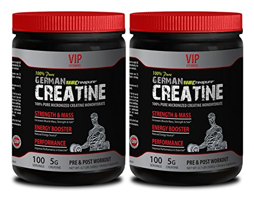 Strength supplements - PURE GERMAN CREATINE POWDER - MICRONIZED CREATINE MONOHYDRATE CREAPURE 500G 100 SERVINGS - Muscle building supplements for men by VIP VITAMINS