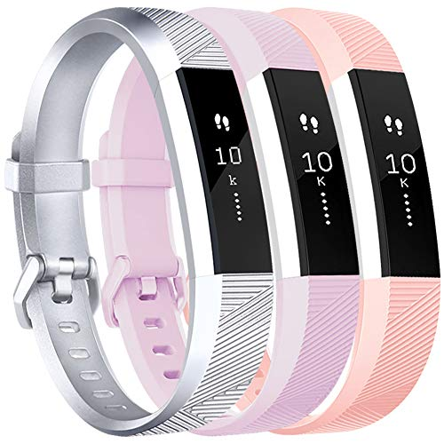 Vancle Bands Replacement for Fitbit Alta HR and Fitbit Alta (3 Pack), Newest Sport Replacement Wristbands with Secure Metal Buckle for Fitbit Alta HR/Fitbit Alta (Silver Pink Lavender, Large)