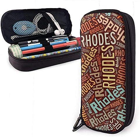 Rhodes - Federmäppchen aus Leder mit großer Kapazität für amerikanische Nachnamen, Stifthalter für Schreibwaren, großer Aufbewahrungsbeutel, Organizer für Schreibwaren für Schüler