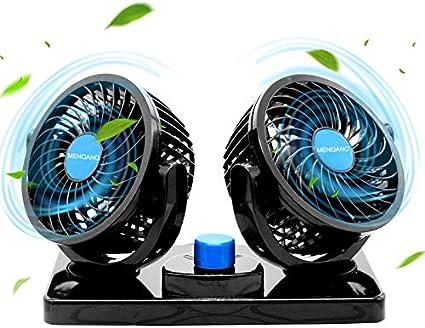 MENQANG Ventilador de Coche 360 ° Giratorio Cabezas Dobles Ventilador 12v con Encendedor de Cigarrillos Potente Silencioso 2 Velocidades Aire Acondicionado Coche para SUV RV ATV Barco Carro. (Negro): Amazon.es: Coche y moto