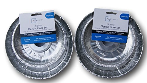 The Basics 24 Piece Electric Stove Disposable Drip Pan Liner Set, Silver (Drip Pan 24)