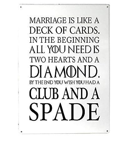 El Matrimonio es como un mazo de Cartas Funny Quote Blancas ...