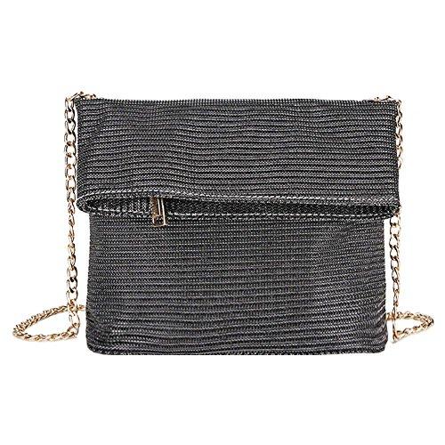 Flap Messenger Evening Shoulder Black Bags Fold Clutch Everpert Chain Glitter Women Metal xz1wFUpq0
