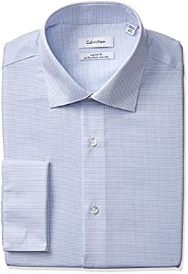 Calvin Klein Men's Non Iron Regular Fit Check Spread Collar Dress Shirt