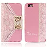 Roodfox Fashion Pink Fresh Cute Flip Wallet Leather Case Cover for iPhone 6 4.7''