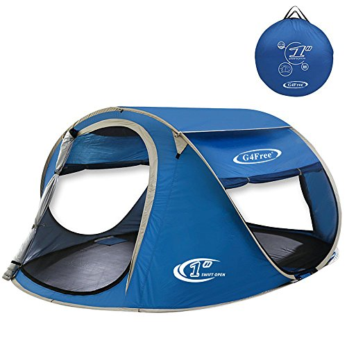 G4Free Pop Up Tent Beach Cabana Instant Backpacking Sun Shelter Water Resistant Camping Cabin Tent Automatic Setup Beach Tents Anti-UV Ventilation for 2-3 person(Blue)