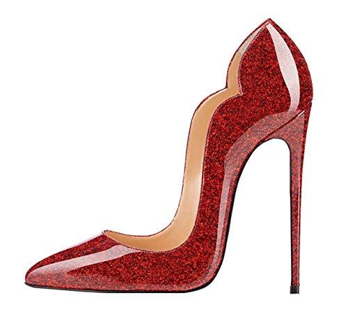 Plusieurs Pointu Noir Brillant Escarpins red Femmes Edefs Aiguille Fermé Talon Coloris Stiletto Briller Synthétique Bout wI4TP