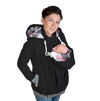 73c75d251366 Femmes Hiver Veste Porte Bébé Capuche Maternité Kangourou Coton Sweat-Shirt  Manteau pour Maman Et