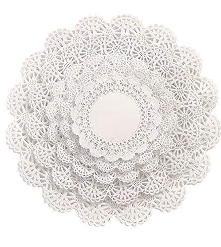 Round paper Lace Table Doilies - 4, 5, 6, 8 and 10 inches Assorted Sizes; White Decorative Tableware papers Placemats, Beautiful Assortment (Variety pack of 150 - 30 of each)]()