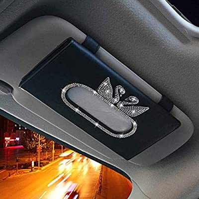 SWCAAE Fashion Rhinestones Car Interior Accessories for Women Crystal Leather Steering Wheel Covers Air Vent Holder Keychain Tissue Box,Car Tissue Box