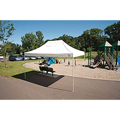 ShelterLogic Easy Set-Up 10 x 15-Feet Straight Leg 50+ UPF Protection Pop-Up Canopy with Roller Storage Bag for the Beach, Park, Tailgating, and Other Outdoor Activities, White: Sports & Outdoors