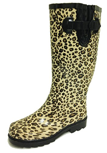 (G4U Women's Rain Boots Multiple Styles Color Mid Calf Wellies Buckle Fashion Rubber Knee High Snow Shoes (7 B(M) US, Leopard))