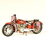 EliteTreasures Metal Collectible Red Motorcycle Model - Retro Industrial Decor - Metal Replica Decorative Bike Model - Collectible Motorbike Figurine - Tabletop Motorcycle - Retro Bike Ornament