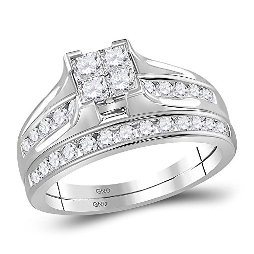 Jewels By Lux 10kt White Gold Womens Diamond Princess Bridal Wedding Engagement Ring Band Set 7/8 Cttw Ring Size 8 (Princess Invisible Set Diamond Band)