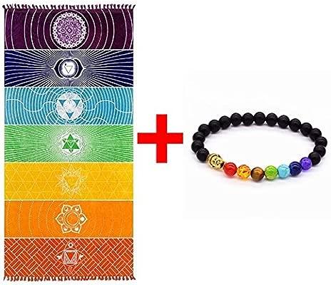 Grueso Cuadrado Bohemia Mandala Manta de yoga Pure Cotton 7 Toalla de yoga Chakra con borlas Rainbow Tapestry Stripes Toalla de playa Yoga Mat 59 * ...