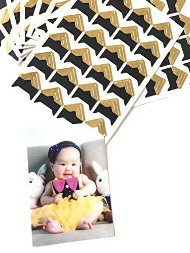 VEEPPO 240pcs Photo Mounting Corners Self Adhesive Paper for Photo Book Scrapbook - Photo Corners Gold