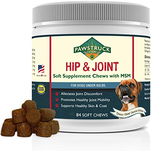 Natural Hip and Joint Supplement for Dogs in Bulk - Soft Chew Pain Relief & Prevention, Glucosamine For Dogs w/ Chondroitin & MSM for Healthy Canines, Made in USA (Small & Medium Dogs - 84 Count)