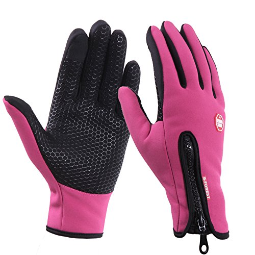 UPhitnis Adjustable Touchscreen Gloves for Men Women, Non-Slip Water-repellent Winter Gloves for Texting Cycling (Garneau Womens Glove)