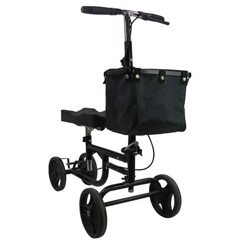 優先配送 歩行器足の損傷のための操縦可能な膝のデラックスな医学のスクーターコンパクト松葉杖代わりの黒 B07MW8SJ9S、ひざまずくクォードのローラーカート B07MW8SJ9S, 永平寺町:b017a8c0 --- newsdarpan.in