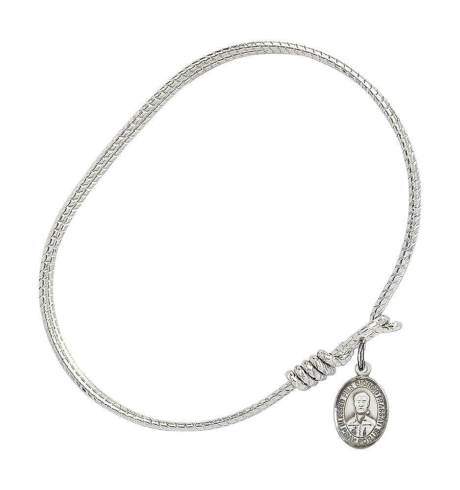 Bonyak Jewelry Oval Eye Hook Bangle Bracelet w//Blessed Pier Giorgio Frassati in Sterling Silver