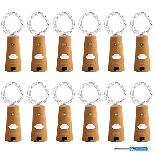 Adecorty SL-WBLWC12-CW Wine Bottle Lights with Cork Battery Powered Fairy Lights 12 Pack 20 LED Cool White