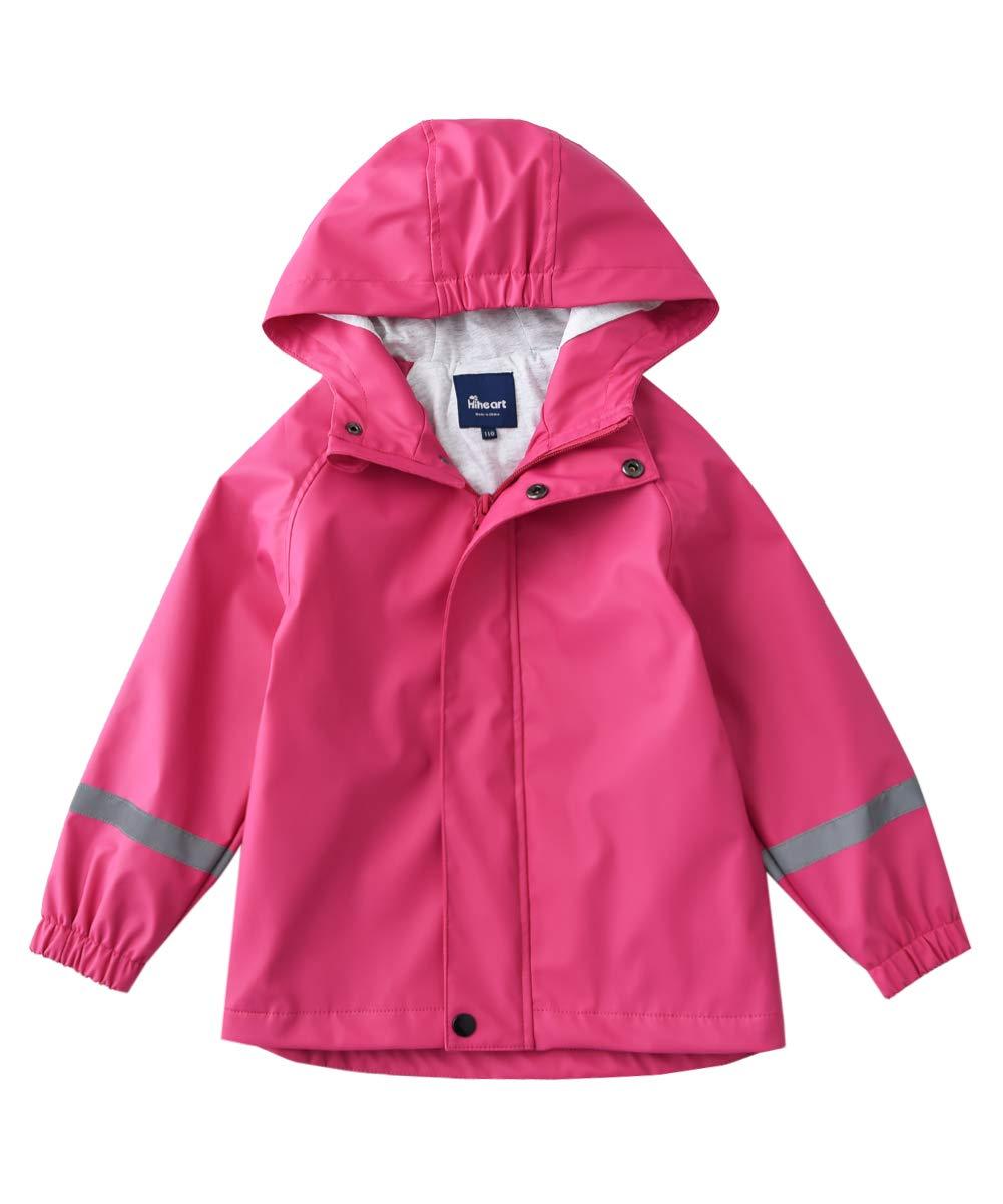 Hiheart Girls Cotton Lined Waterproof Rain Jackets Hooded Windbreaker Rose 6/7 by Hiheart