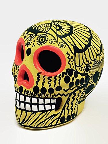 Unique Yellow, Black and Orange, Bird, Hand-painted Mexican Ceramic Sugar Skull ~ Made in Mexico ~ Day of the Dead ~ Decor ~ Calavera ~ Dia de Los Muertos ~ (Yellow Hand Painted Clay)