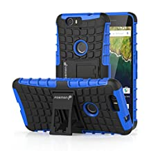 Fosmon (HYBO-RAGGED) Google Nexus 6P Case - Dual Layer Protection Heavy Duty Hybrid Cover with Built In Kickstand for Google Nexus 6P / Huawei Nexus 6P (Blue)