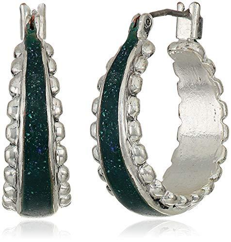 Lucky Brand Women's Green Enamel Silver Floral Inlay Hoop Earrings, Silver, One Size