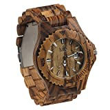 Maui Kool Wooden Watch Lahaina Collection For Men Women Unisex Analog Wood Watch Bamboo Gift Box (1A - Zebrawood)