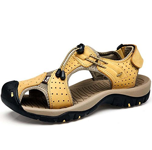 Onfly Hombres Chicos Dedo del pie cerrado Cuero Casual Sandalias Zapatillas Antideslizante Respirable Para caminar Al aire libre Sandalias Zapatos de agua Zapatillas de deporte ocasionales Playa Zapat Yellow