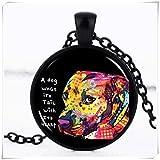 Gratitude Pitbull Neon Cabochon Glass Black Chain Pendant Necklace