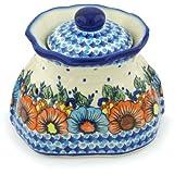 Polish Pottery Garlic and Onion Jar 9-inch Bold Poppies UNIKAT