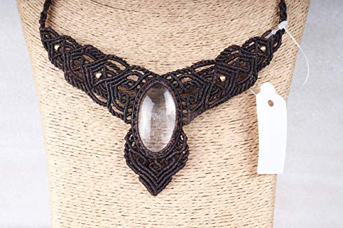 Bohemian Chic Elven Necklace Boho Style Jewelry With Large Stone Hippie Tribal Necklace Rose Quartz Macrame Necklace Healing Stone