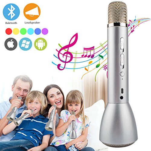 Wireless Bluetooth Karaoke Microphone for Kids, Portable Karaoke Machine Player with Speaker, Karaoke Mic for Children Party Home Music Singing Playing, Support iPhone Android IOS Smartphone PC iPad
