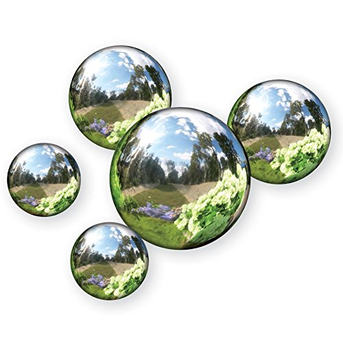 Cheap Reflective Garden Spheres – Set Of 5, Silver