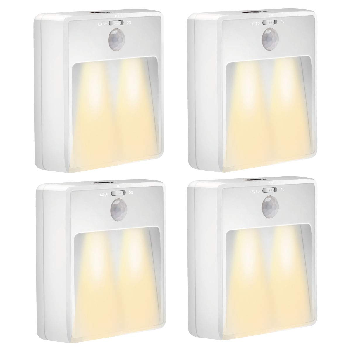 IMIGY Night Light, Sleep Friendly Motion Sensor LED Light Powered by Battery, Stair Closet Cabinet Light for Hallway Bathroom Bedroom Kitchen Indoor Corners, White - Pack of 4