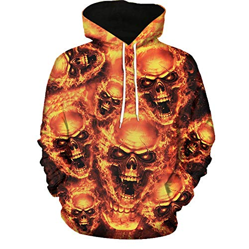 iLXHD Unisex Fashion Sweatershirt Hoodies 3D Digital Printing Halloween Jumper(Yellow 2,3XL)]()