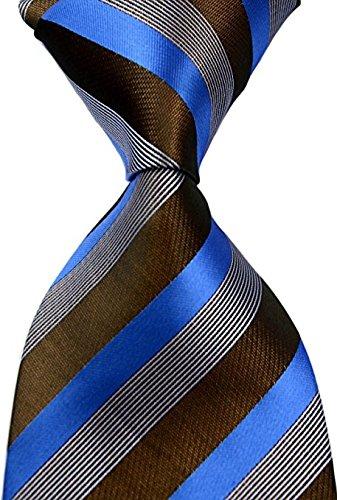 - Scott Alone : New Blue Coffee 100% New Jacquard Woven Silk Men's Tie Necktie