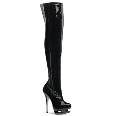f6d149af5ec 6 Inch Stiletto Black Stetch Platform Thigh High Boots Dominatrix