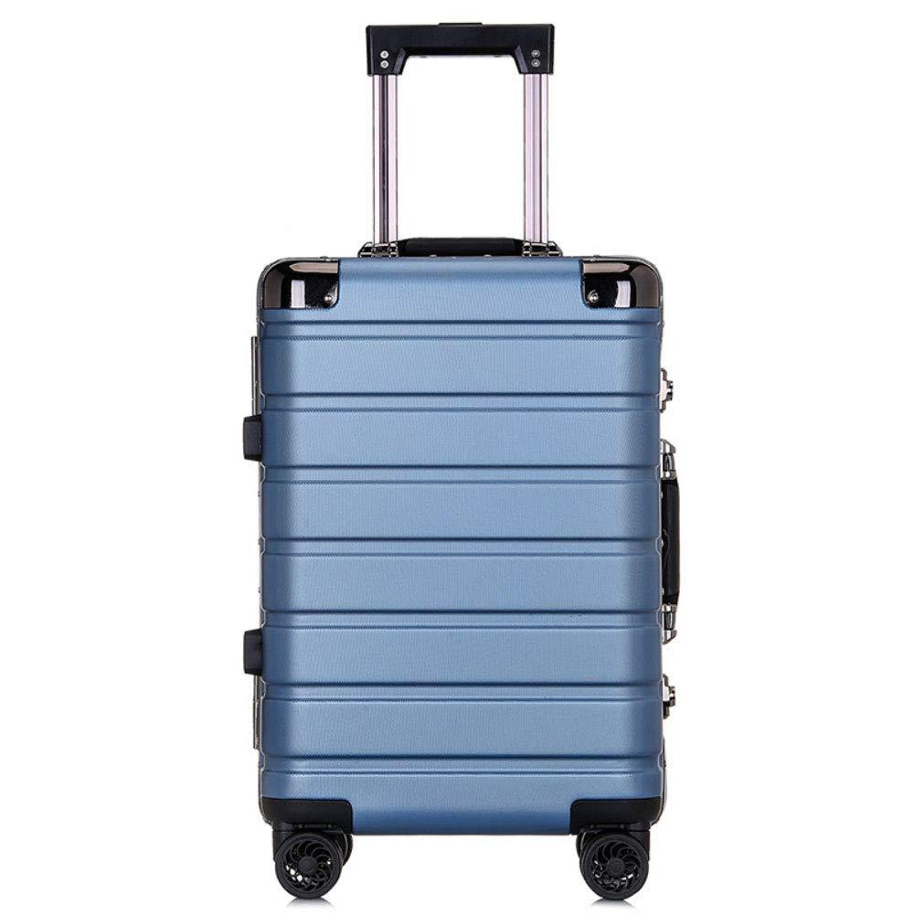 トロリーケースPCアルミフレームユニバーサルホイール荷物スーツケース男性と女性のビジネスパスワード20インチ屋外旅行搭乗 (Color : 青, Size : 24 inch)   B07QXK23YT