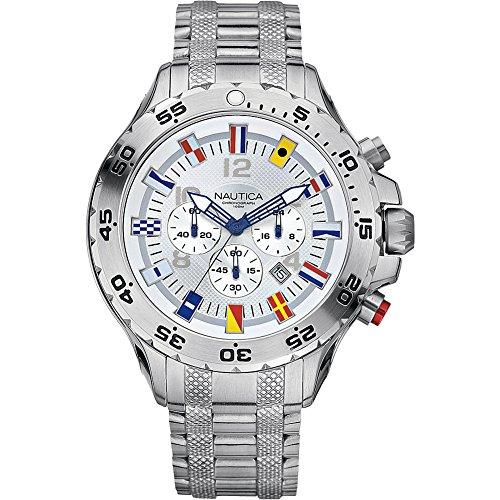 Nautica Men's N20503G NST Stainless Steel Watch (Flag Dial Bezel)