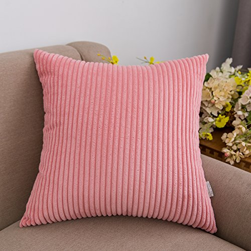 Jeanerlor Home Decoration Super Soft Corduroy with Vertical Stripes Euro Throw Pillow Sham Cushion Cover for Wedding, 26x 26 inch (65 x 65 cm), Pink (Sham Pink Stripes Euro)