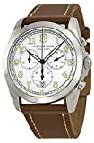 Men Watches Victorinox INFANTRY CHR. SILVER WH. DIAL BROWN LEAT