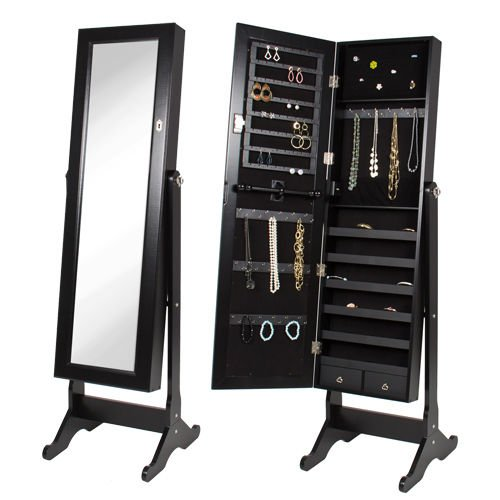 Black Mirrored Jewelry Cabinet Amoire W Stand Mirror Rings, Necklaces, Bracelets by Closet Hanging Jewelry Organizers