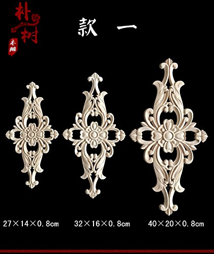 1Pcs Wood Carved Applique Corner Flower Onlay Furniture Home Decor Unpainted DIY Door Table Beds Replacement Parts (Style1-40x20x0.8cm)