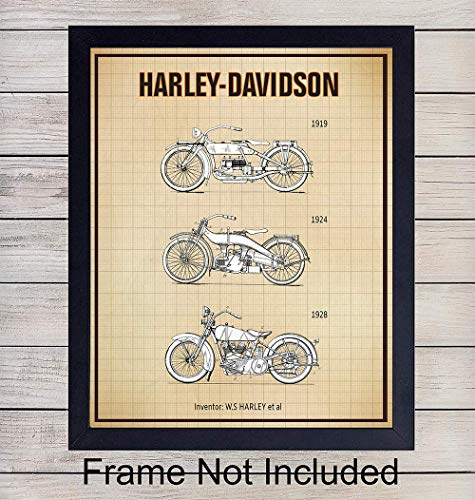 (Harley Davidson Patent Print Wall Art - Vintage Home Decor for Den, Office, Man Cave, Living Room, Garage, Bar - Perfect Gift For Men, HOG Riders, Motorcycle Enthusiasts - 8x10 Photo - Unframed)