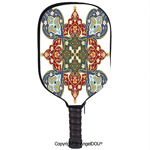 (AngelDOU Oriental Waterproof Zipper Single Pickleball Paddle Racket Cover Case Turkish Ottoman Arabic Eastern Decor Flowers Moroccan Image for for Most Rackets.White Ruby Turquoise Cadet Blue )
